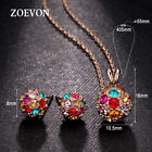 Women Multicolor Crystal Ball Jewelry Set Lady Necklace Pendant Chain Earrings