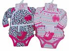 BNWT Baby girls 3 piece bodysuit hat and socks Layette set Clothes 0-3 3-6 6-9 m
