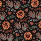 JOY LOVE GIVE HANDS NOVELTY QUILT SEWING FABRIC *Free Oz Post