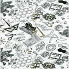 A STITCH IN TIME BUTTONS THREAD SCISSORS QUILT SEWING FABRIC *Free Oz Post