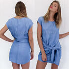 New Women Mini Dress Wrap Button Pocket Party Short Sleeve T-shirt Blouse Tops