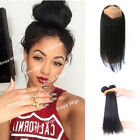 100% Malaysian Human Hair 360 Full Lace Band Frontal Straight with 2 Bundles