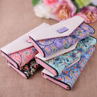 Flower PU  Leather Clutch Wallet Long Card Holder Purse Handbag fit Women Lady