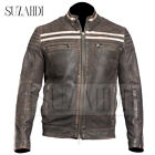 Mens Biker Vintage Motorcycle Washed Brown Retro Napa Soft Real Leather Jacket