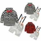 2PCS Baby Toddler Boys Plaid Shirt Tops + Suspender Trousers Kids Clothes Outfit