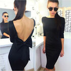 Women Sexy Backless Bowknot Pencil Dress Cocktail Evening Party Bodycon Dress