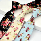 Fashion Cotton Slim Skinny Wedding Groom Party Necktie Men's Floral Print Ties