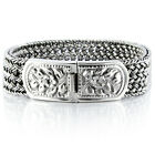 925 Solid Sterling Silver Men's Woven Bracelet Heavy Wide Size Length 7.5 to 9.5