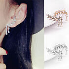 Women's Fashion Gold Silver Crystal Leaves Tassel Ear Stud Earrings Jewelry Gift