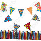 Ginger Ray Superhero Boys Birthday Party Stylish Bunting, Banners, Decorations!!