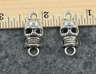 New 12/60pcs Retro Style ancient silver Charm delicate skull   connector