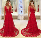 Deep V-Neck Lace Red Celebrity Prom Gown Off The Shoulder Pageant Party Dress