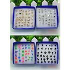 Pairs Novelty Jewelry Women Earrings Gold/Silver Plated Plastic Box Ear Studs