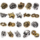 DIY Buddha Head Lion Owl Fox Head Charm Alloy Beads Fit Animal Bracelets 10PCS