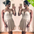 Women Sheer paneling Bust Structured layered Lace Mesh overlay hem Dresses