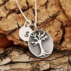 Sterling Silver Personalised Tree of Life Pendant And Initial Tag Necklace Boxed