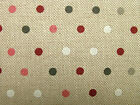 Natural Linen Look Polka Dot Spot Fabric - Curtains Blinds Upholstery Multi Use