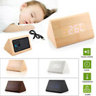 Classical Triangular Digital LED Wood Wooden Desk Alarm Clock Thermometer US New