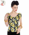 HELL BUNNY LEMONADE 50s style LEMON gypsy TOP rockabilly BLACK YELLOW