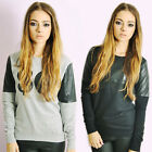 Ladies SO Sweatshirt Pullover Top PU Sleeves in Grey or Black