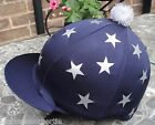 Riding Hat Silk Skull cap Cover NAVY BLUE *SILVER MULTI STARS With OR w/o Pompom