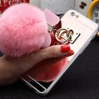 Fur Pom Pom Case with Keychain TPU Mirror Surface Cover For iPhone 6 6S 7 Plus