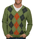 WoolOvers Mens Long Sleeve Lambswool Argyle Jumper Sweater Christmas Knitted