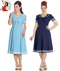 HELL BUNNY 50's AMBLESIDE NAUTICAL sailor DRESS NAVY PASTEL BLUE & IVORY