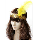 Feather Costume Sequin Headband  Hair Band Dancing Party Hairband -YELLOW COLOR