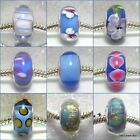 'MID BLUES' -  Blue murano glass european charm beads - Various designs