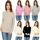 Ladies MOSS STITCH CUT OUT Cold Long Sleeve ARM RIPPED Sweater Jumper UK TOP8-14