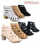Women's Zip Strappy Open Toe Chunky High Wedge Heel Sandal Shoes Size 5 - 11 NEW