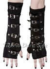 Restyle Black Lycra Silver Buckles Goth Rock Punk Sleeve Arm Warmers Long Gloves