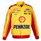 2017 Authentic Joey Logano Pennzoil Shell  Yellow & Red Cotton Jacket JH Design