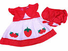 BNWT Baby girls red and white strawberry and polka dot dress knickers hairband
