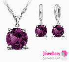 925 Sterling Silver 7mm Round Purple Crystal Pendant Necklace Earring Women Set