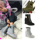 New Womans Ladies Hi Top Sneakers Wedge Lace Up Ankle Boots Chain Hidden Heel 3