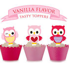 Pink Owl Baby Party EDIBLE wafer Cupcake Cake Toppers Standup PRECUT Cup Cake