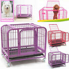 "31"" Dog Cage Crate Suitcase Folding Animal Heavy-Duty Pet Puppy Pen Tray Wheels"