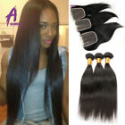 3 Bundles Peruvian Straight hair with closure Human Hair Extensions Weave 8A
