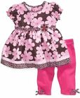 NEW Blueberi Boulevard Girl's 2 Piece Legging Set Brown/Pink Floral Sizes 9M 12M