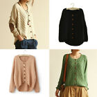 Fashion Women Knitted Cardigan with Elbow Patch Long Sleeve Sweater Coat