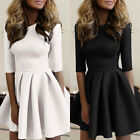 Women's Short Sleeve Casual Party Slim Fit Flared Skater Mini Party Dress Black