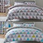 SCANDI GEOMETRIC REVERSIBLE POLYCOTTON BEDDING QUILT DUVET COVER SET BLUE PINK