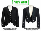 100% WOOL Scottish Argyle Kilt Jacket/ Prince Charlie Jacket-WITH FREE WAISTCOAT