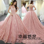 New Pink Lace Wedding dress Bridal gown Quinceanera Pageant Prom Formal dresses