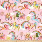 MAGIC RAINBOW SHINE UNICORNS PINK QUILT CRAFT FABRIC ** FREE OZ POST **