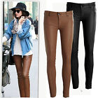 New Brown PU faux leather low rise paneled slim pants