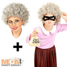 Gangsta Granny + Wig Girls Fancy Dress Gangster Burglar Book Day Kids Costume