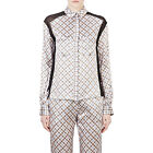 NEW $1590 Nina Ricci Plaid Charmeuese Blouse Top 100% Silk